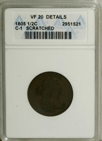 1805 1/2 C Small 5, No Stems--Scratched--ANACS. VF20 Details. C-1. NGC Census: (9/88). PCGS Population (8/77). Mintage:...