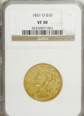Liberty Eagles: , 1851-O $10 VF30 NGC. NGC Census: (6/779). PCGS Population (7/391).Mintage: 263,000. Numismedia Wsl. Price for NGC/PCGS coi...