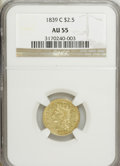 Classic Quarter Eagles: , 1839-C $2 1/2 AU55 NGC. NGC Census: (37/89). PCGS Population (23/10). Mintage: 18,100. Numismedia Wsl. Price for NGC/PCGS c...
