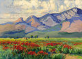 Paintings, FRANZ STRAHALM (American, 1879-1935). New Mexican Landscape. Oil on artist's board. 10 x 14 inches (25.4 x 35.6 cm). Ins...