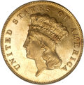 Three Dollar Gold Pieces, 1881 $3 MS63 PCGS. CAC....