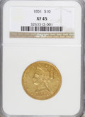 Liberty Eagles: , 1851 $10 XF45 NGC. NGC Census: (50/165). PCGS Population (30/53).Mintage: 176,328. Numismedia Wsl. Price for NGC/PCGS coin...
