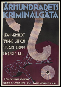 """The Crime of the Century (Paramount, 1933). Swedish One Sheet (27.5"""" X 39.5""""). Mystery"""