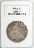 Seated Dollars, 1859-S $1 XF45 NGC....