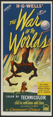 """The War of the Worlds (Paramount, 1953). Australian Daybill (13.5"""" X 30""""). Science Fiction"""