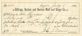 Miscellaneous:Ephemera, [Fort Benton] Check Drawn Against the Billings, Barker and BentonMail and Stage Co., 1886....