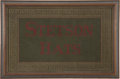 Advertising:Signs, Beautiful Stetson Hats Advertising Counter Rug, circa Early 1900s.This well-done, colorful counter rug features colors of r...