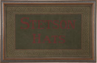Beautiful Stetson Hats Advertising Counter Rug, circa Early 1900s. This well-done, colorful counter rug features colors...