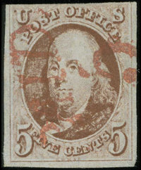 #1, 1847, 5c Red Brown, G 30 PSE. (Used)