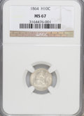 Seated Half Dimes, 1864 H10C MS67 NGC....