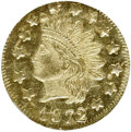 California Fractional Gold: , 1872 50C Indian Round 50 Cents, BG-1049, R.4, MS63 Prooflike NGC.NGC Census: (1/3). (#710878)...