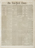 """Miscellaneous:Ephemera, [Civil War Newspaper] The New York Times. Six pages, January23, 1862, 15.5"""" x 21"""". This well-preserved original..."""