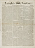 "Miscellaneous:Ephemera, [Civil War Newspaper] The Springfield Daily Republican.Eight pages, 15.75"" x 21.5"", November 9, 1864. This well..."