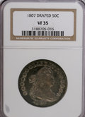 Early Half Dollars: , 1807 50C Draped Bust VF35 NGC. NGC Census: (51/445). PCGSPopulation (69/420). Mintage: 301,076. Numismedia Wsl. Price for...