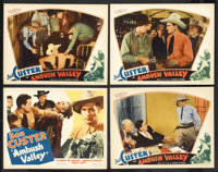 """Ambush Valley (William Steiner, 1936). Title Lobby Card (11"""" X 14"""") and Lobby Cards (3) (11"""" X 14"""")..."""