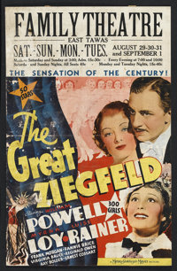 "The Great Ziegfeld (MGM, 1936). Window Card (14"" X 22""). Musical. Starring William Powell, Myrna Loy, Luise Ra..."