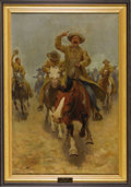 Illustration:Magazine, CHARLES CHASE EMERSON (American 1871 - 1922) . Race to theChuckwagon, 1909 . Oil on canvas . 36 x 24in. . Signed lower...