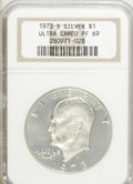 Proof Eisenhower Dollars: , 1973-S $1 Silver PR69 Ultra Cameo NGC. NGC Census: (634/0). PCGSPopulation (8103/4). Numismedia Wsl. Price for NGC/PCGS c...