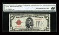 Small Size:Legal Tender Notes, Fr. 1529 $5 1928D Legal Tender Note. CGA Gem Uncirculated 66.. ...