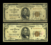 Fr. 1850-D* $5 1929 Federal Reserve Bank Note. Very Good. Fr. 1850-G* $5 1929 Federal Reserve Bank Note. Fine