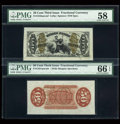 Fractional Currency:Third Issue, Fr. 1331SP 50c Third Issue Spinner Wide Margin Back PMG Gem Uncirculated 66 EPQ. Fr. 1343SP 50c Third Issue Justice Wide Margi... (Total: 2 notes)