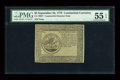 Colonial Notes:Continental Congress Issues, Continental Currency September 26, 1778 $5 PMG About Uncirculated55 EPQ....