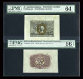 Fractional Currency:Second Issue, Fr. 1283SP 25c Second Issue Wide Margin Pair PMG Choice Uncirculated 64/Gem Uncirculated 66 EPQ.... (Total: 2 notes)