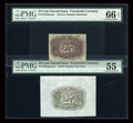 Fractional Currency:Second Issue, Fr. 1283SP 25¢ Second Issue Wide Margin Back PMG About Uncirculated 55 and Narrow Margin Back PMG Gem Uncirculated 66 EPQ.... (Total: 2 notes)