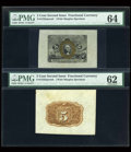 Fractional Currency:Second Issue, Fr. 1232SP 5c Second Issue Wide Margin Pair PMG Choice Uncirculated 64/Uncirculated 62. Fr. 1244SP 10c Second Issue Wide Margi... (Total: 4 notes)