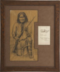 Autographs:Celebrities, Apache Chief Geronimo, Chief Christian Naiche, and Asa DaklugieSigned Note, circa 1900....