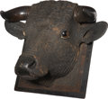 Antiques:Folk Art, Leach Signed Folk Carving Bull Head Wall Plaque, circa 1870s....