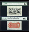 Fractional Currency:Third Issue, Fr. 1275SP/1273-5SP 15c Third Issue Wide Margin Pair PMG Gem Uncirculated 66 EPQ.... (Total: 2 notes)