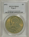 Eisenhower Dollars, 1972 $1 Type Two MS64 PCGS. PCGS Population (297/47). Numismedia Wsl. Price for NGC/PCGS coin in MS64: ...
