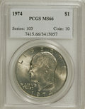 Eisenhower Dollars: , 1974 $1 MS66 PCGS. PCGS Population (88/0). NGC Census: (47/1). Mintage: 27,366,000. Numismedia Wsl. Price for NGC/PCGS coin...