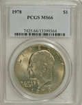 Eisenhower Dollars: , 1978 $1 MS66 PCGS. PCGS Population (289/5). NGC Census: (118/5). Mintage: 25,702,000. Numismedia Wsl. Price for NGC/PCGS co...