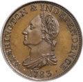 Colonials, 1783 1C Washington & Independence Cent, Draped Bust, No Button,Copper Restrike, Engrailed Edge PR66 Brown PCGS....