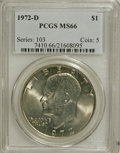 Eisenhower Dollars: , 1972-D $1 MS66 PCGS. PCGS Population (272/5). NGC Census: (287/2).Mintage: 92,548,512. Numismedia Wsl. Price for NGC/PCGS ...