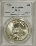 Eisenhower Dollars: , 1973-S $1 Silver MS68 PCGS. PCGS Population (760/3). NGC Census: (94/1). Mintage: 869,400. Numismedia Wsl. Price for NGC/PC...