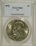 Eisenhower Dollars: , 1976 $1 Type One MS65 PCGS. PCGS Population (428/21). NGC Census:(176/15). Mintage: 4,019,000. Numismedia Wsl. Price for N...