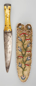 American Indian Art:Beadwork and Quillwork, A PLAINS CREE BEADED BUFFALO HIDE KNIFE SHEATH. c. 1850... (Total:2 Items)