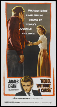 "Rebel Without a Cause (Warner Brothers, 1955). Three Sheet (41"" X 81""). Drama"