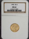 Liberty Quarter Eagles: , 1902 $2 1/2 MS62 NGC. NGC Census: (665/1583). PCGS Population(604/1852). Mintage: 133,500. Numismedia Wsl. Price for NGC/P...