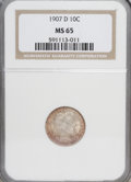 Barber Dimes: , 1907-D 10C MS65 NGC. NGC Census: (12/10). PCGS Population (6/6). Mintage: 4,080,000. Numismedia Wsl. Price for NGC/PCGS coi...