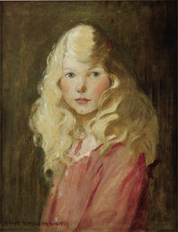 JESSIE WILLCOX SMITH (American 1863 - 1935) Portrait of a Girl Oil on canvas 20.75 x 16.25 in