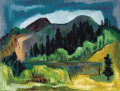 Texas:Early Texas Art - Modernists, DEFORREST HALE JUDD (American, 1916-1993). Mountain Landscapewith Beaver Pond, 1948. Oil on board. 29-3/4 x 39-1/4 inch...