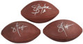 Football Collectibles:Balls, Lawrence Taylor Signed Footballs (Lot of 3)....