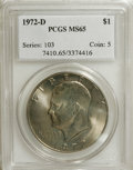 Eisenhower Dollars: , 1972-D $1 MS65 PCGS. PCGS Population (921/223). NGC Census: (617/241). Mintage: 92,548,512. Numismedia Wsl. Price for NGC/P...
