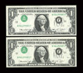 Error Notes:Inverted Third Printings, Fr. 1908-J $1 1974 Federal Reserve Notes. Two Consecutive Examples. About Uncirculated.. ... (Total: 2 notes)