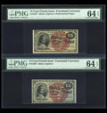 Two 15c Fourth Issue Notes Both PMG Choice Uncirculated 64 EPQ