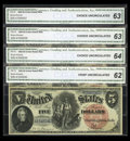 Fr. 73 $5 1880 Legal Tender Cut Sheet of Four CGA Choice Uncirculated 64, Choice Uncirculated 63 (2), Crisp Uncirculated...